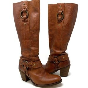 """FRYE Brown Taylor Ring Harness Tall Boot - 3"""" Heel"""